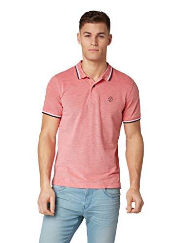 TOM TAILOR Herren 1008653 T-Shirt, Rot (Scarlet Red White Pi 16128), X-Large (Herstellergröße: XL)