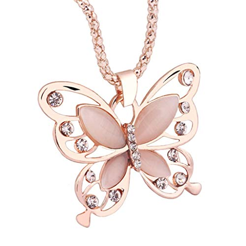 Kviklo Butterfly Necklace Women Fashion Rose Gold Opal Charm Torque Alloy Chain Pendant (Gold)