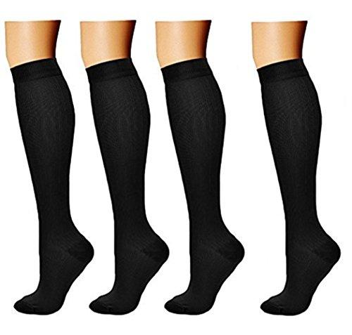 4 Paar Kompressionsstrümpfe/Kompressionssocken/Compression Socks/Strümpfe Kompression/Laufsocken/Thrombosestrümpfe/für Damen Herren, Sport, medi, Flug, Reisen, Schwangerschaft & Medizinische
