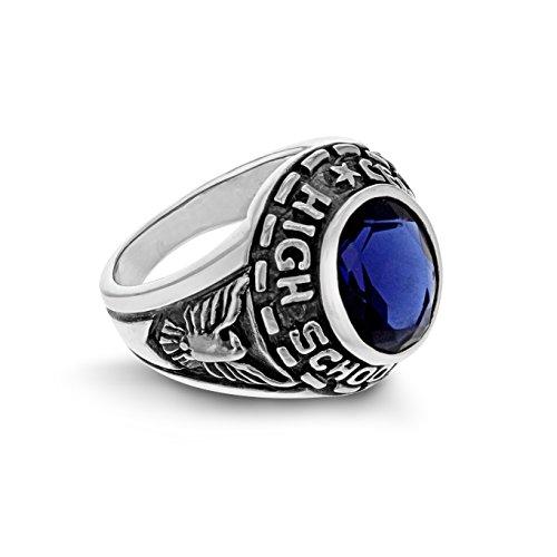 Tuscany Silver Ring Sterling Silber College Blau Zirkonia Saphir - Größe U