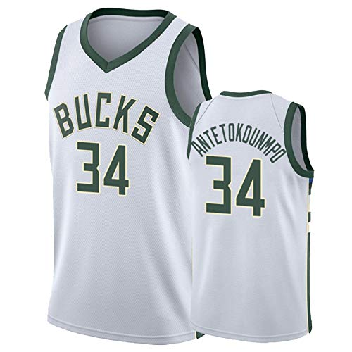 OLJB Maillots de baloncesto Giannis Antetokounmpo #34, New Season Milwaukee Bucks MIL Jerseys, para adultos y jóvenes, camisetas de baloncesto blanca-L
