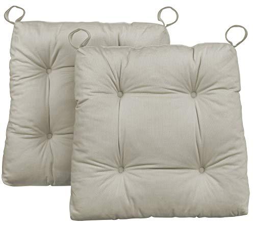 Traumnacht Stuhlkissen Premium 2er Set, mit einem Baumwollbezug, 38 x 40 x 7 cm, beige