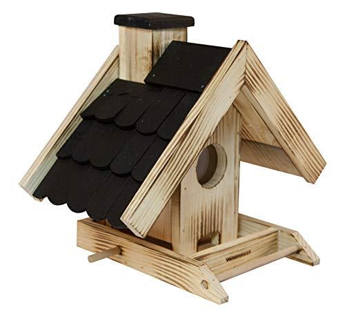 Windhager Vogelfuttersilo Villa, Vogelfuttersilo, Vogelhaus, Futterspender für Vögel, mit Glasfenster, Vogelhäuschen aus Massivholz, 06865