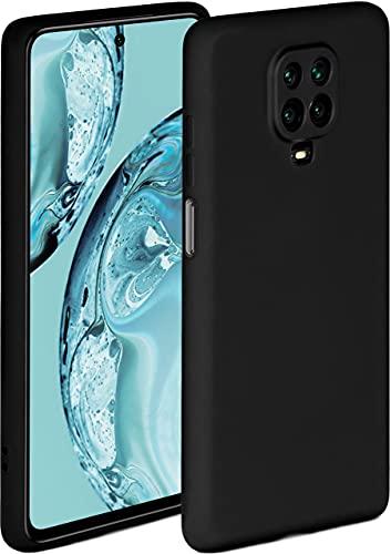ONEFLOW Soft Hülle kompatibel mit Xiaomi Redmi Note 9 Pro Hülle aus Silikon, erhöhte Kante für Displayschutz, zweilagig, weiche Handyhülle - matt Schwarz