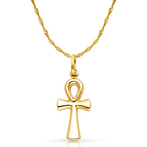 14K Yellow Gold Egyptian Ankh Cross Pendant with 1...