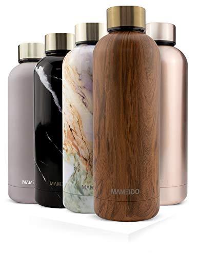 MAMEIDO Trinkflasche Edelstahl - Holz Messing - 750ml, 0,75l Thermosflasche - auslaufsicher, BPA frei - schlanke isolierte Wasserflasche, leichte doppelwandige Isolierflasche