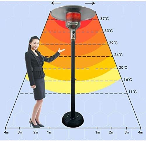 Patio Calentador de Gas, en Forma de Paraguas Gas Natural Calentamiento del Horno, Puro Aluminio Reflectante Cubierta, Mástil de Ajuste, for al Aire Libre o de Uso en Interiores (Color : Silver)