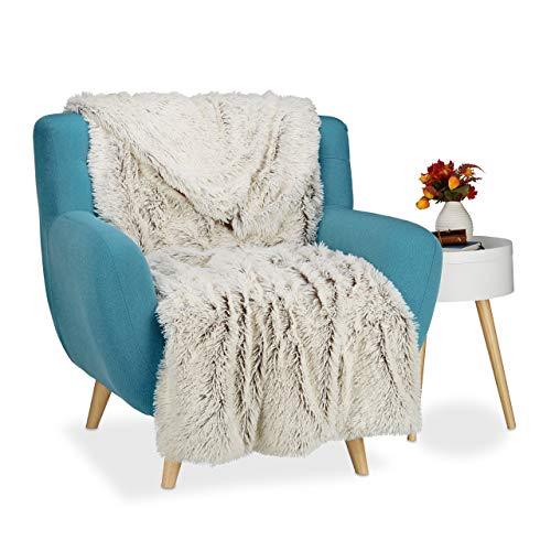 Relaxdays Kuscheldecke Felloptik, Decke Fellimitat, Tagesdecke xxl, Wohndecke flauschig, BxT ca 220 x 240 cm, weiß-braun