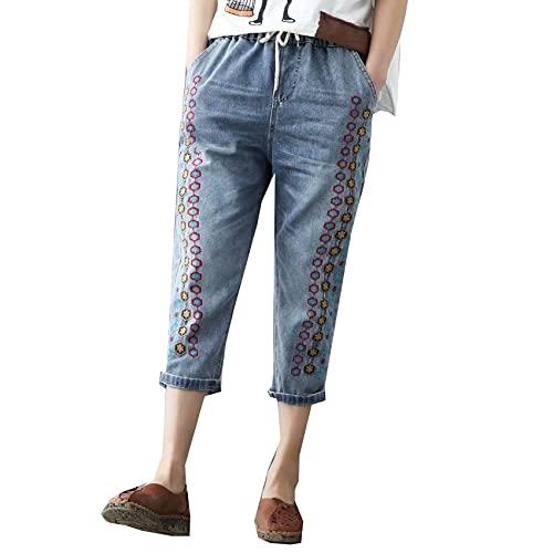 Cortos De Mezclilla Desgastados Retro Para Mujer Pantalones Vaqueros De Cintura EláStica Para Mujer Pantalones Bordados Retro Para Mujer Pantalones Harem Rasgados De Mezclilla Con Flores Informales