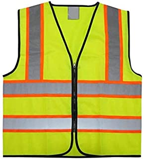 Reflective Safety Vest, Bright Neon Color with 2 Inch Reflective Strips - Orange Trim (polyester, Medium)