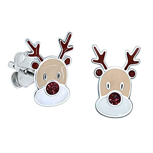 Reindeer Earrings Red Glitter - Sterling Silver - Christmas