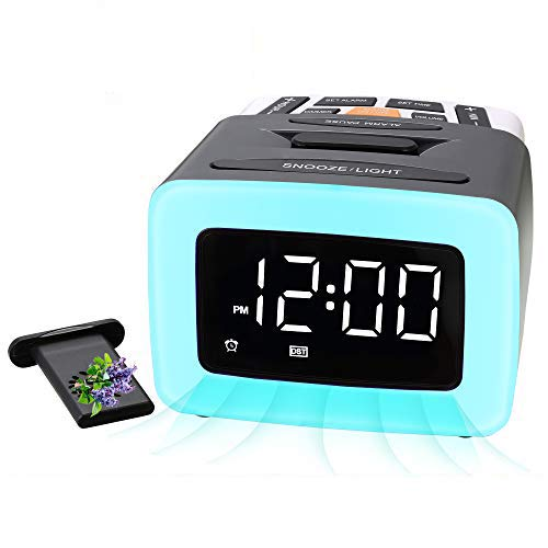 Rocam Scent Alarm Clock for Bedrooms with Night Light, 7 Alarm Sounds, Adjustable Volume, USB Charger, Brightness Dimmer, 12/24H, Snooze, Easy Digital Clock for Kids, Senior, Bedside - 4 Capsules Incl