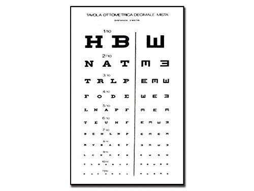 GIMA - Tavola Optometrica 'Decimale Mista', Dimensioni 28 x 56 cm, Distanza 3 m