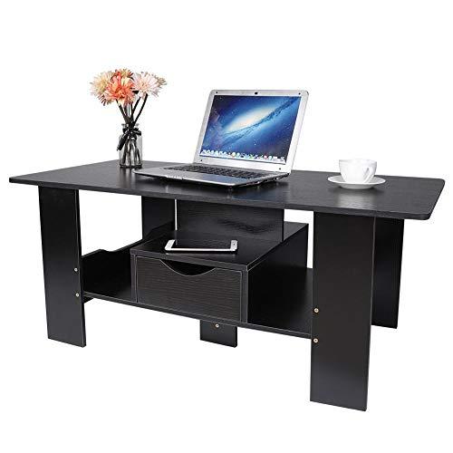 GOTOTOP theetafel, salontafel, zwarte kleur, klassieke stijl woonkamermeubel thuis sofa bijzettafel salontafel