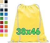 ELES VIDA Bolsa de Deporte de algodón, Certificado Oeko-Tex, Bolsa de Cuerdas, Bolsa de Gimnasia (Amarillo, 38x46cm)