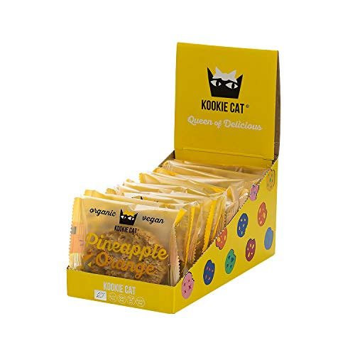 Kookie Cat Ananas & Orange - Vegane Cookies Einzeln Verpackt, Glutenfrei, Sojafrei, Bio, Cashew & Hafer - 12 X 50g Multipack