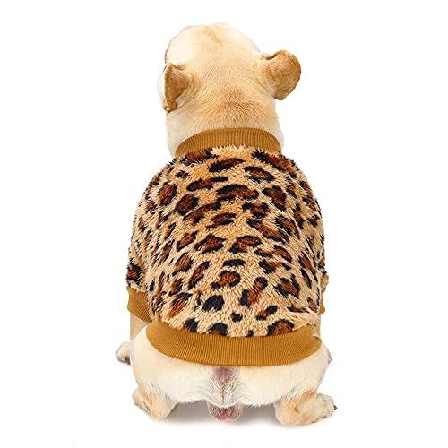 Poseca Abrigos para Perros para Perros pequeños Invierno Cálido Lana Estampado de Leopardo Mascota Perro Cachorro Gato Jersey Suéter Ropa Abrigo Invierno Ropa para Perros pequeños y Gatos