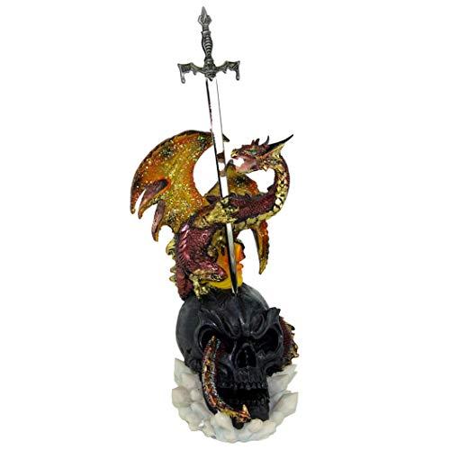 GeKi Trend Drachen Figur mit Schwert auf Totenkopf Fantasy Gothic Dekofigur Drache 30 cm Brieföffner groß