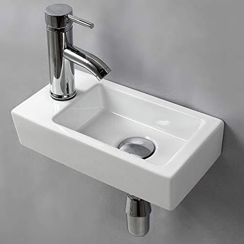 Lavabo de pared para lavabo pequeño rectangular de cerámica