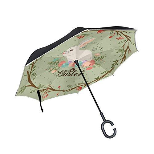 Double Layer Inverted Umbrellas Frohe Ostern Zitat Floral Reverse Umbrella Winddicht Wasserdicht für Auto Outdoor Travel Erwachsene Männer Frauen