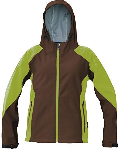 DINOZAVR Yowie Damen Outdoor Softshell Jacke mit Kapuze Funktionsjacke Arbeitsjacke - Braun/Grün S