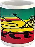 Tazza Rasta Leone di Giuda con bandiera Rastafari Re Jungle Reggae tema Art Print Tazza in ceramica per acqua tè bevande 311,8 g giallo rosso
