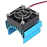 Dissipateur Thermique de Moteur 540/550/3650 avec Ventilateur de Refroidissement, Accessoire de dissipateur Thermique pour Moteur de Voiture électrique RC à l'échelle 1/10(Bleu)