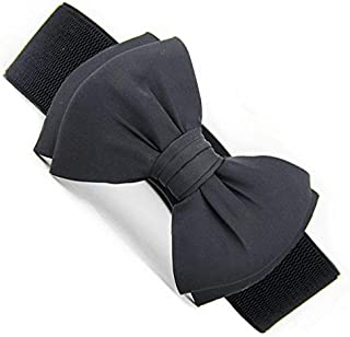 Black Mixed Materials Belt For Women