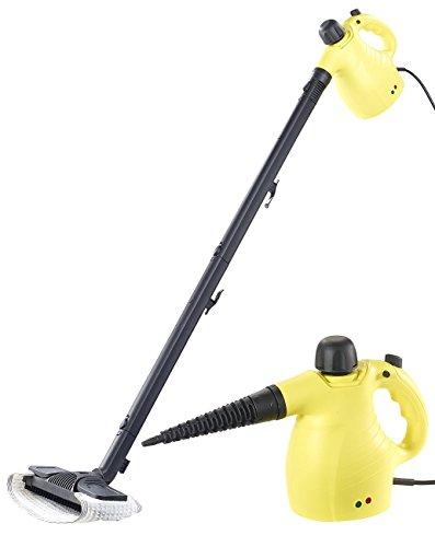 Sichler Haushaltsgeräte Dampfgerät: 2in1-Hand-Dampfreiniger, Dampfmopp & -Besen, 13-tlg. Zubehör, 1.050W (Fenster Dampfreiniger)