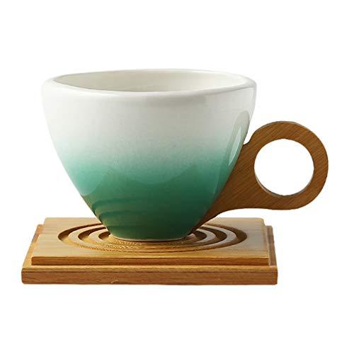 YARNOW 1 Juego de Tazas Y Platos de Cerámica Tazas de Café de Porcelana de Color Degradado Tazas de Té de China por La Tarde Tazas de Té para Café Leche Moca Latte Verde 200Ml