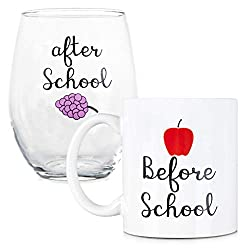 mug and wine glass gift for teachers