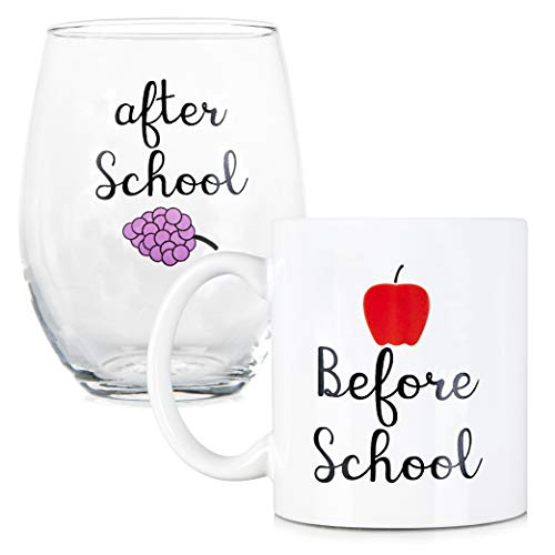 Before School, After School Coffee Mug and Stemless Wine Glass Set - Gift for Teachers and Professors - 11 oz Coffee mug - 15 oz wine glass