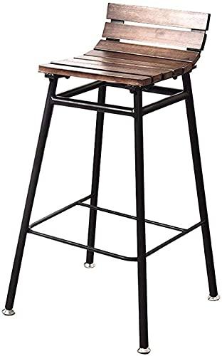 Taburetes De Bar Modernos Taburete de barra Retro, silla de barra de hierro, respaldo de madera maciza para interiores/al aire libre (Color : Dark, Size : 75cm)
