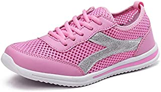 FYXKGLa 2019 Summer New Women's Shoes Mesh Ladies Sports Shoes Lightweight Flat Running Shoes Women's Shoes (Color : Pink, Size : 36EU)