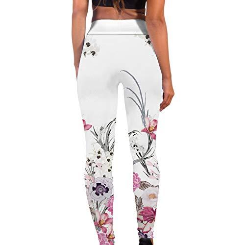 Pantalones Deportivos de Estampado de Flores para Mujer Mallas de Cintura Alta Reducir Vientre Leggins Transpirables Elásticos Pantalón Deporte Suave y Ligero Leggings Ideal para Yoga,Fitness,Baile
