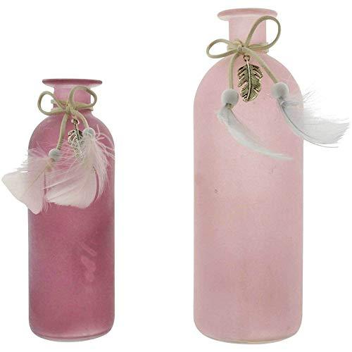 SIDCO Blumenvase 2 x Vase Flasche Glas Federn rosa Beeren Flaschenvase pink Deko