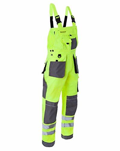 Leber&Hollman Arbeitslatzhose Arbeitshose Sicherheitshose Warnhose Latzhose Warnbekleidung 2 Farben (LH-FMNX-B) (58, gelb)