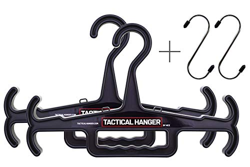 Tactical Hanger by HICE | Set of 2 | Original Heavy Duty Hanger | 200 lb Load Capacity | Durable High Impact Resin | for Body Armor, Police Gear, Military Gear, Survival Gear and Equipment (Black)