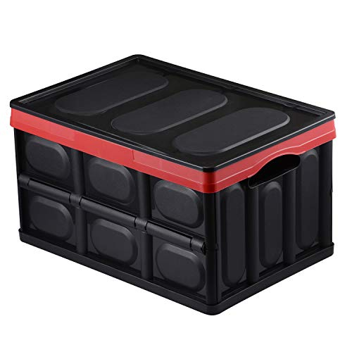 chiitek 30L Backseat Collapsible Organizer Plastic Foldable Storage Box Space Saving Box Reinforced Handle Easy to Carry Multipurpose Portable Storage Bin Carrier for Car, SUV, Truck, Auto