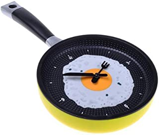 TOOGOO (R) Sarten Reloj con Huevo Frito - Novedad Hanging Kitchen Cafe reloj de pared de la cocina - Amarillo