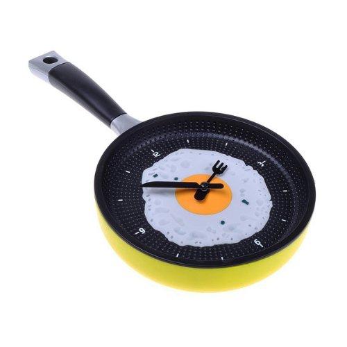 RETYLY Reloj De SartéN con Huevo Frito - Novedad Cocina Colgada Café De La Cocina Reloj De Pared Cocina - Amarillo