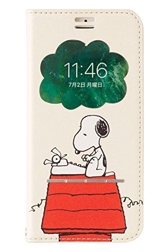 PEANUTS スヌーピー iPhone SE 2020 第2世代/8/7/6s/6 ケース 手帳型 窓付き [タイプライター/オフホワイト]
