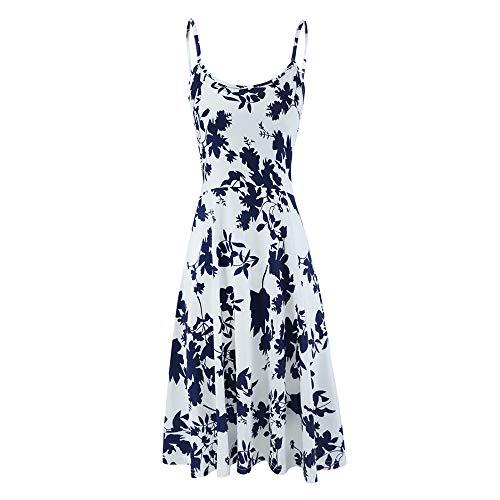 Seamido Sommerkleid Damen Ärmelloses Blumen Swing Knielang Maxikleid Spagettiträgern Strandkleid (Blau Weiß, Medium)