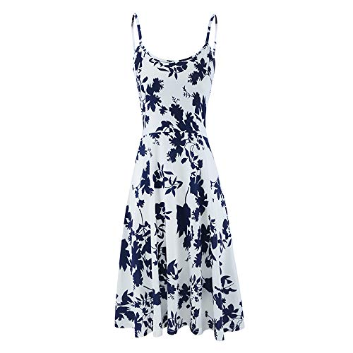Seamido Sommerkleid Damen Ärmelloses Blumen Swing Knielang Maxikleid Spagettiträgern Strandkleid (Blau Weiß, Small)