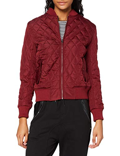 Urban Classics Damen Ladies Diamond Quilt Nylon Jacket Jacke, Rot (Burgundy 606), 38 (Herstellergröße: M)