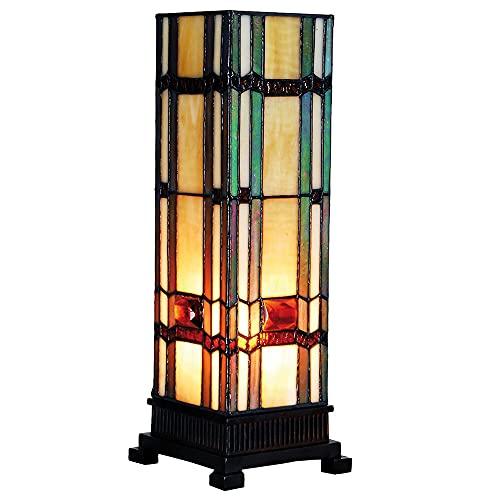 Lumilamp 5LL-9024 - Lampada a colonna in stile Tiffany, 12,5 x 35 cm, 1 lampadina E14 max 40 W, in vetro colorato
