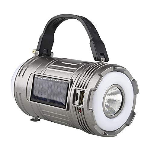 Haihui Linterna LED solar recargable, funciona con pilas, para camping, función de...