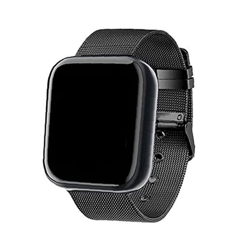 Runfon Reloj Elegante Y68 Fitness Sport SmartWatch y Tiras de Acero Control de Actividad con la presión Arterial del Ritmo cardíaco Hombres Mujeres Negro