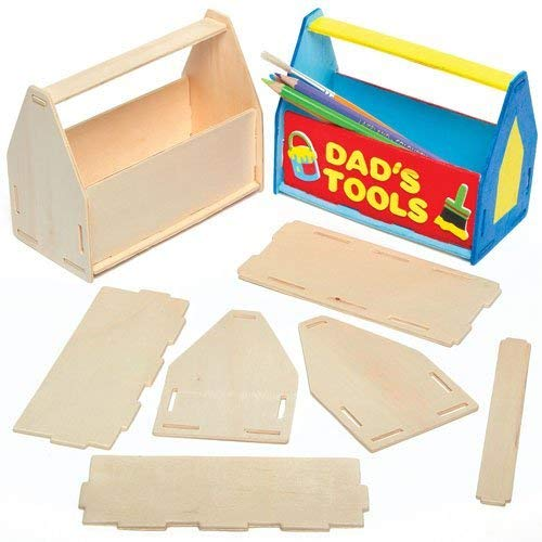 Baker Ross Wooden Toolbox Desk Tidy Craft Kits for Children to Assemble Decorate and Give as (Pack of 3)