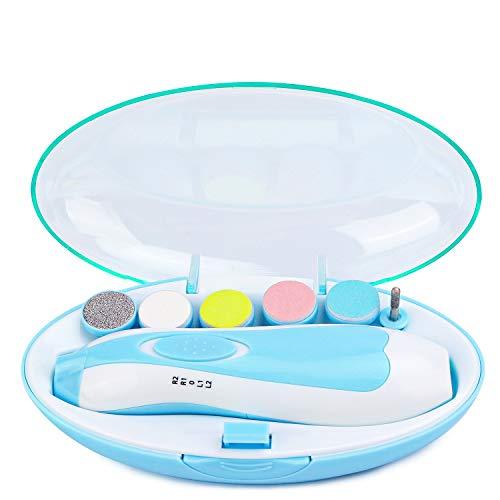 Baby Nagelfeile Elektrisch, KEREDA Nagelpflegeset Baby Nagelklipser, 6 in 1 Maniküre & Pediküre Set Baby Elektrischer Nageltrimmer mit LED Licht für Babys, Erwachsene (Batterien NICHT inklusive)